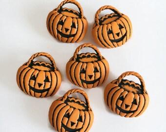 Jack O'lantern basket buttons - pumpkin buttons - shank button