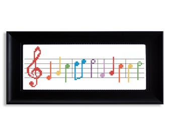 Rainbow Connection Musical Cross Stitch Pattern