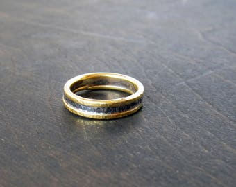 14k Gold and Recycled Sterling Silver 4mm Rustic Wedding Band, Rustic Ring