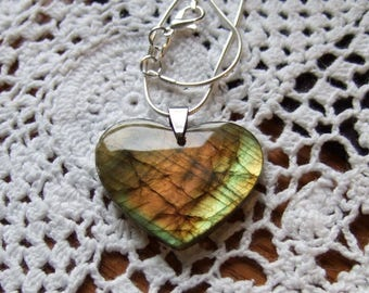 Amazing Labradorescence Exists Labradorite Gemstone Heart Pendant Necklace Sterling Silver Chain Made in Newfoundland