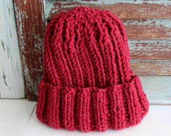 Knit Beanie Knit Winter Hat Chunky Winter Hat Handmade by avintageobsession on etsy
