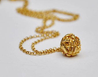 Textured ball pendant necklace gold plated silver - gold charm pendant - birthday present - wedding jewelry - valentines gift