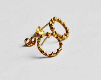 Small bubble hoop ear studs in gold plated silver – hoop earrings – granulated studs – bubbles studs - birthday present – Valentines gift