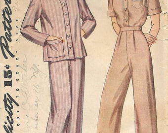 Simplicity 4888 1940s Womens Mens Style Pajamas Vintage Unprinted Sewing Pattern Size 12 Summer PJs