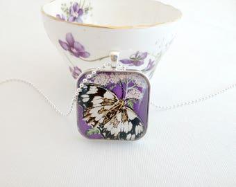 vintage postage stamp necklace, butterfly, moth pendant, 1974 Magyar Posta