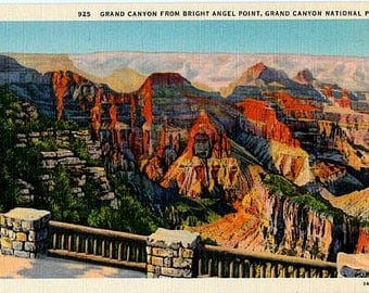 Vintage Arizona Postcard - The Grand Canyon from Bright Angel Point (Unused)