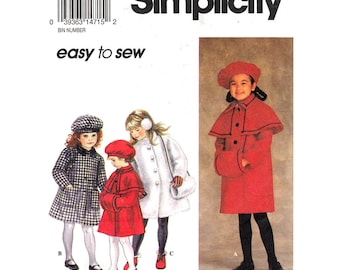 Girls Lined Coat, Muff, Beret Hat Pattern Simplicity 8715 Coat With Capelet Peter Pan Collar Jacket Girls Size 5 6 6x Sewing Pattern UNCUT