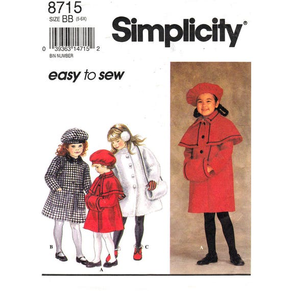 Girls Lined Coat, Muff, Beret Hat Pattern Simplicity 8715 Capelet Collar Size 5 6 6x