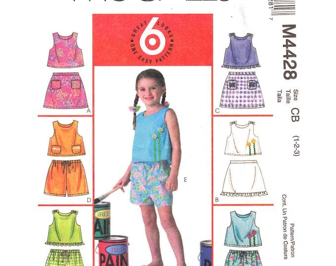 Girls Sewing Pattern Sleeveless Top Skirt Skorts Shorts McCalls 4428 Ruffle Hem Toddler Size 1 2 3