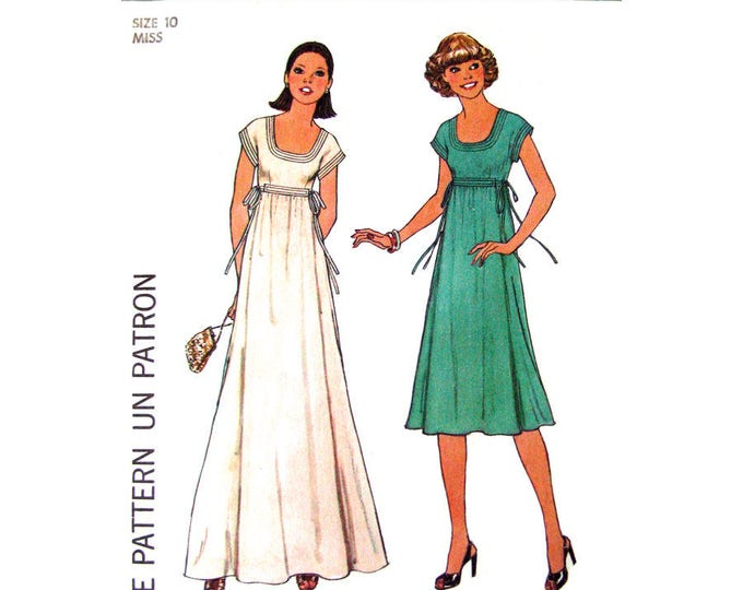 70s Empire Maxi Dress Pattern Simplicity 7882 Side Ties Scoop Neck Women Size 10