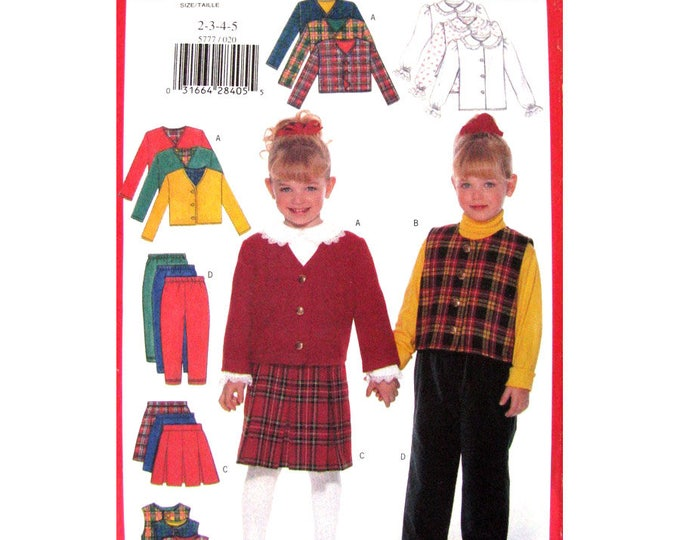 Girls Sewing Pattern Jacket Vest Blouse Skirt Pants Butterick 5777 Size 2 to 5 or 6 7 8