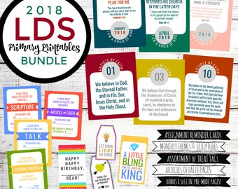 2018 Primary Printables Bundle, Monthly Themes, LDS Articles of Faith, Digital Download, Printables