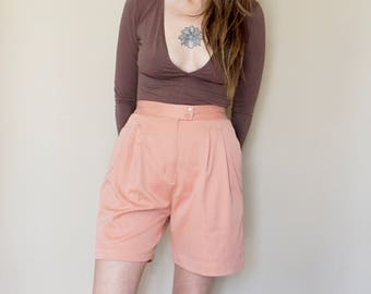 90s dusty rose MINIMAL mom TROUSER shorts S-M