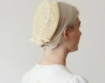 1950s Cream Lace Bridal Hat