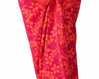 Beach Sarong Wrap Skirt Batik Pareo - Raspberry & Orange Sarong - Swimsuit Cover Up - Women's Beach Clothing - Hawaiian Plumeria Wrap Skirt