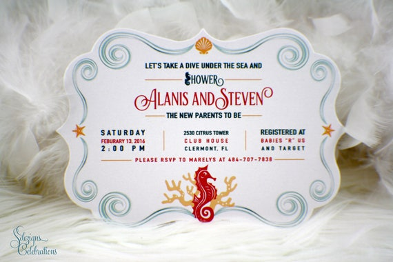 Under The Sea Baby Shower Invitation Seahorse Baby Shower
