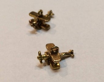 "Bi-Plane, Brass, 3/4"", 3-D charms"