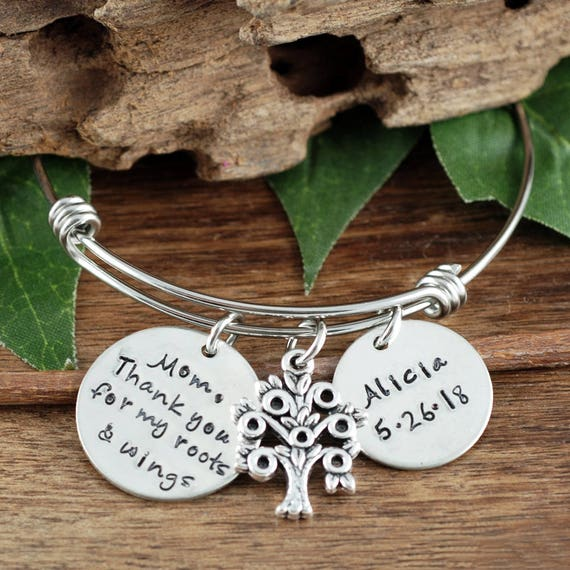 Bridal Gift for mom, Thank You for my Roots and Wings, GIft For Mom, Bracelet for Mom, Personalized Bracelet for Mom, Hand Stamped Bracelet