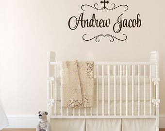 Baby Name Decals | Religious Wall Decals | Cross Name Decal | Boy Nursery Decor | | Girl Nursery Decor | Name Decal | FN0628