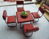 Dollhouse Kitchen Decor. Red Wooden Table on Metal Stand with four Matching chairs. Pie. #353