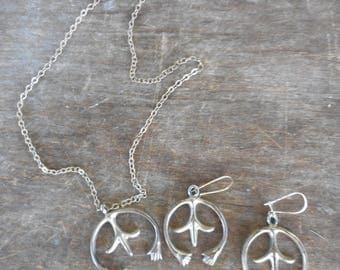 Vintage Sterling Naja Pendant Necklace & Pierced Earrings Set