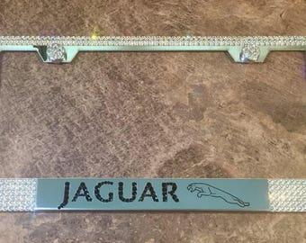 Jaguar License Plate Frame made with Swarovski Crystals- Jaguar Car Jewelry