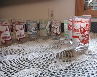 Vintage 1950's State   Souvenir  Song /State Drinking Glass Set of  Different States