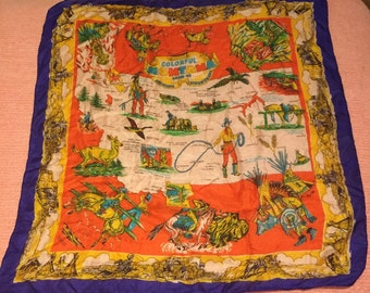 """MONTANA STATE SCARF, Hand Rolled Hem, Silk Scarf, Made in U S A, 30"""" Square, Vintage Montana, Souvenir Scarf, at A Vintage Revolution"""