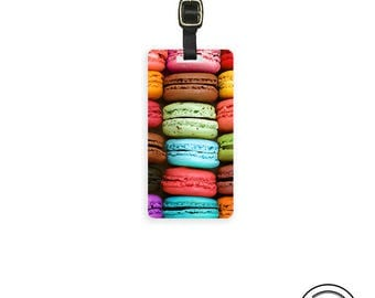Luggage Tag Rainbow Macarons Macaroons Cookie -Single Tag Custom Metal Tag