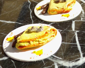 1:12 scale Set of Two Omelette Plates with Mushrooms and Sausage one inch scale dollhouse food