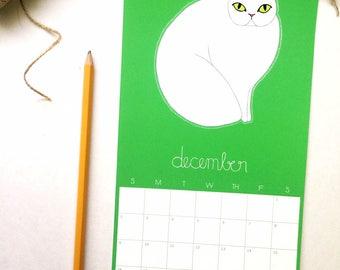 2018 Calendar, Cat Calendar, Gifts Under 25, Cat Lover, Stocking Stuffer, Wall Calendar, Cat Calendar, Cat