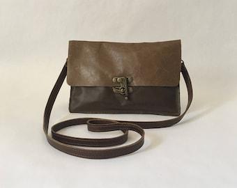 RRR Leather Crossbody / Clutch - Leather Crossbody Bag - Leather Envelope Clutch - Leather Bag - Eco friendly - Eco Bag - Handmade