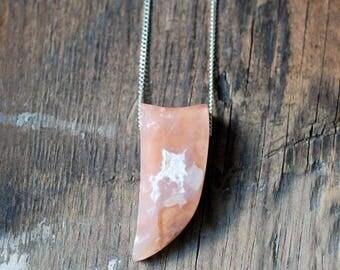 Raw Gemstone Peach Chalcedony Pendant