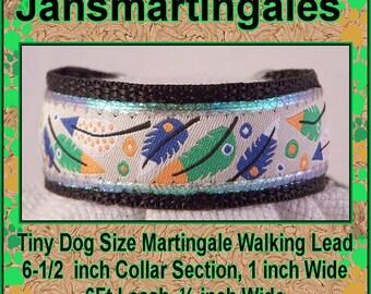 "Jansmartingales, Dog Collar Leash Combination Walking Lead,  Italian Greyhound, SmToy Dog Size, 6-1/2"" Collar Section Iblk195090"