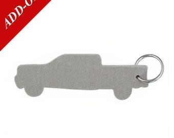 Pick Up Truck Designer Wool Felt Keychains - Gray, 100% Wool, Pickup Truck, Add-On Item
