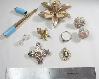 Lot of Vintage Jewelry for Repair - Re-purpose - Some Wearable - Craft Supplies - As Is