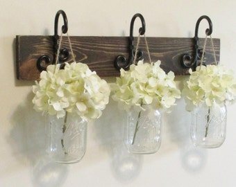 Rustic Wood Shelf...Farmhouse Wall Decor...3 Hanging Mason jars on Stained Boards