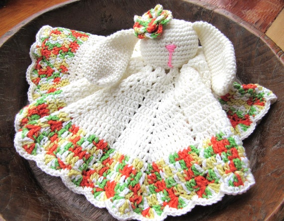 Handmade crochet Baby Bunny Security Blanket soft cotton for a perfect snuggle.