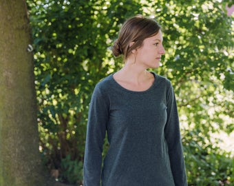 Womens Cotton Clothing T Shirt Long Sleeves Made in the USA - Made to Order - Everyday Basic