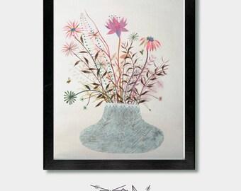 Wildflowers. Silent Explosion. Wildflower Boho, Plants Boho, Wildflower Bouquet, Forest Wildflowers, Boho-Chic Wall Art, Plants Boho, Floral