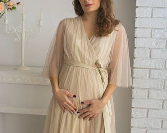 Champagne Maternity Robe from my Paris Inspirations Collection - Minimal Mojo in Nude - Perfect for maternity shoot