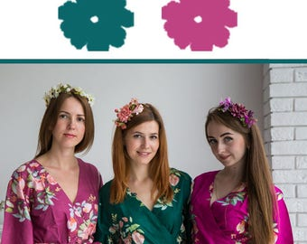 Forest Green and Berry Wedding Color Bridesmaids Robes - Premium Soft Rayon - Wider Belt and Lapels - Wider Kimono sleeves