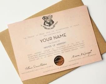 Hogwarts Diploma card Graduation card Harry Potter Card Hogwarts - Custom name Master of Wizardry