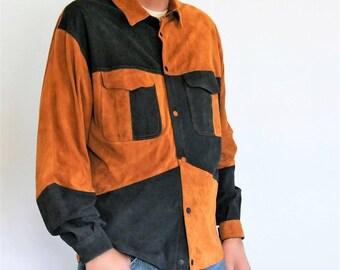 Men's Suede Jacket Shirt Vintage 1970's Leather Patchwork Size Large