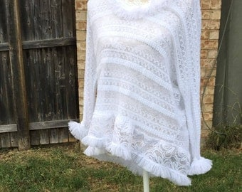 Altered Women's Nylon White Lace Hoodie, Altered Couture, Size Medium, Shabby Chic, Romantic Top, Fringed Lacy Top, Cottage Chic, Boho Chic