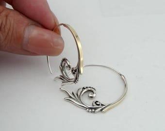Hoop Ethnic Earrings, Long Fine Earrings, 925 Sterling Silver  9K Yellow Gold Silver Long Earrings, Filigree Hoop Silver Earrings (ms e1438