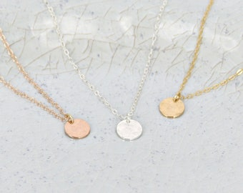 Hammered small disc necklace • Layering necklace • Silver, Gold, or Rose Gold - Simple dainty necklace • Hammered tiny tag necklace