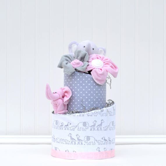 Pink Elephant Baby Shower, Elephant Diaper Cake, Elephant Shower Decorations, Elephant Baby Shower Centerpieces, Pink and Gray Shower