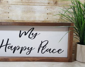 "My Happy Place Framed Farmhouse Wood Sign 7"" x 17"""