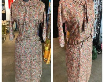 1930's/40's Lovely Autumn Tone Paisley Day Dress